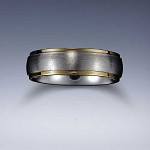 STYLE 6: Stainless Steel Gold Tone Edge Comfort Fit Name Ring 6mm