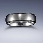 STYLE 6B: Stainless Steel Black Tone Edge Comfort Fit Name Ring 6mm